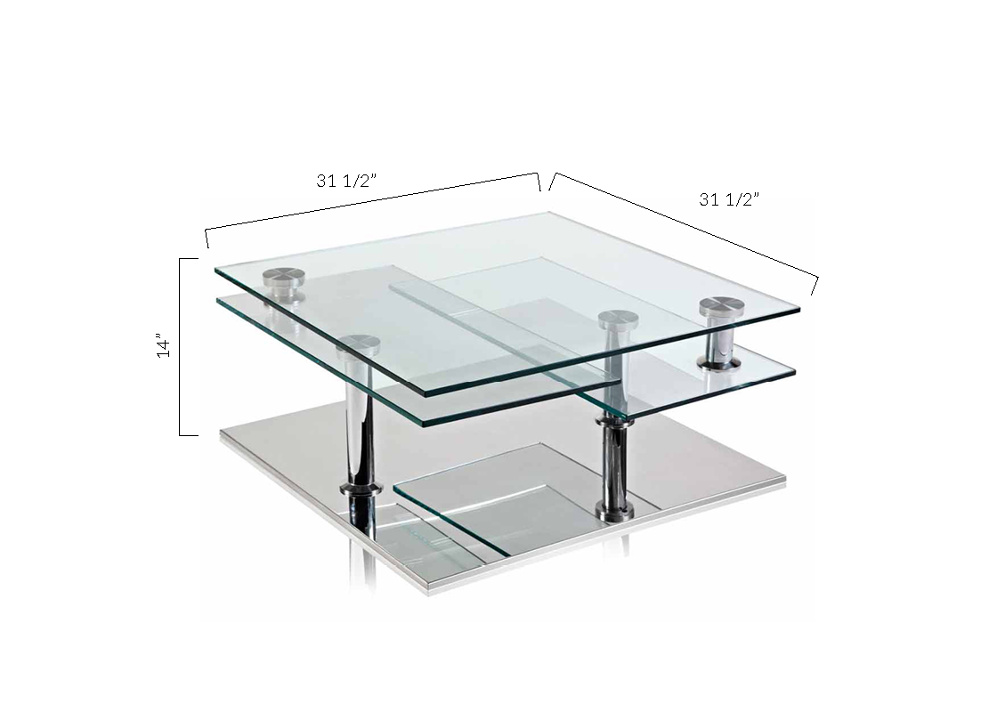 Clear Tempered Glass, Chromed Pillar, Polished Stainless Steel Base