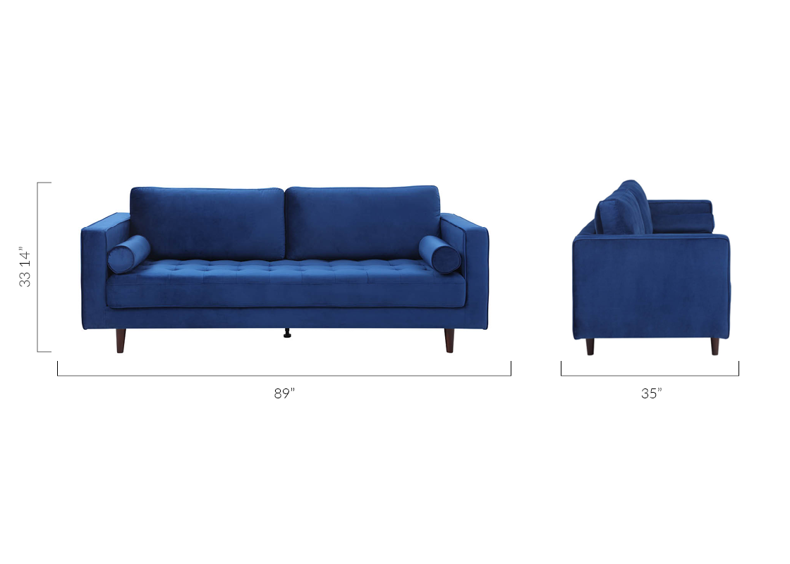Louis 3 Seater Sofa Blue